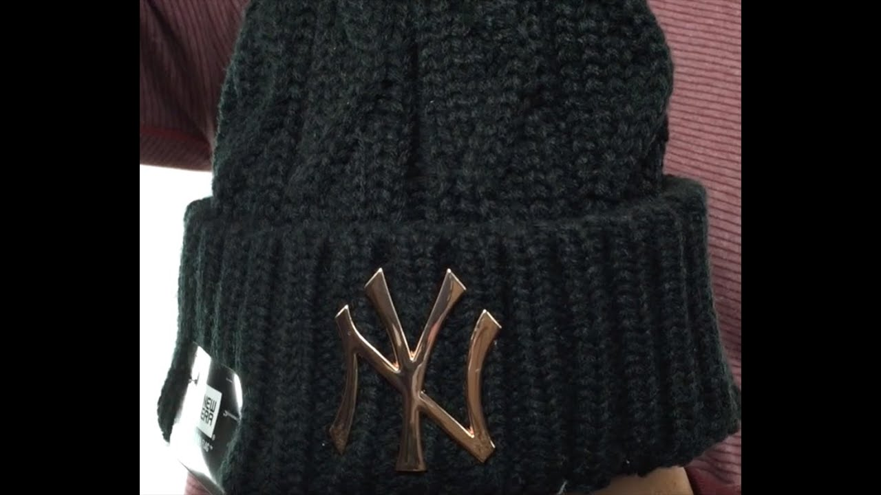 Yankees  HARDWARE LOGO  Black Knit Beanie Hat by New Era - YouTube 98eebe56dd7