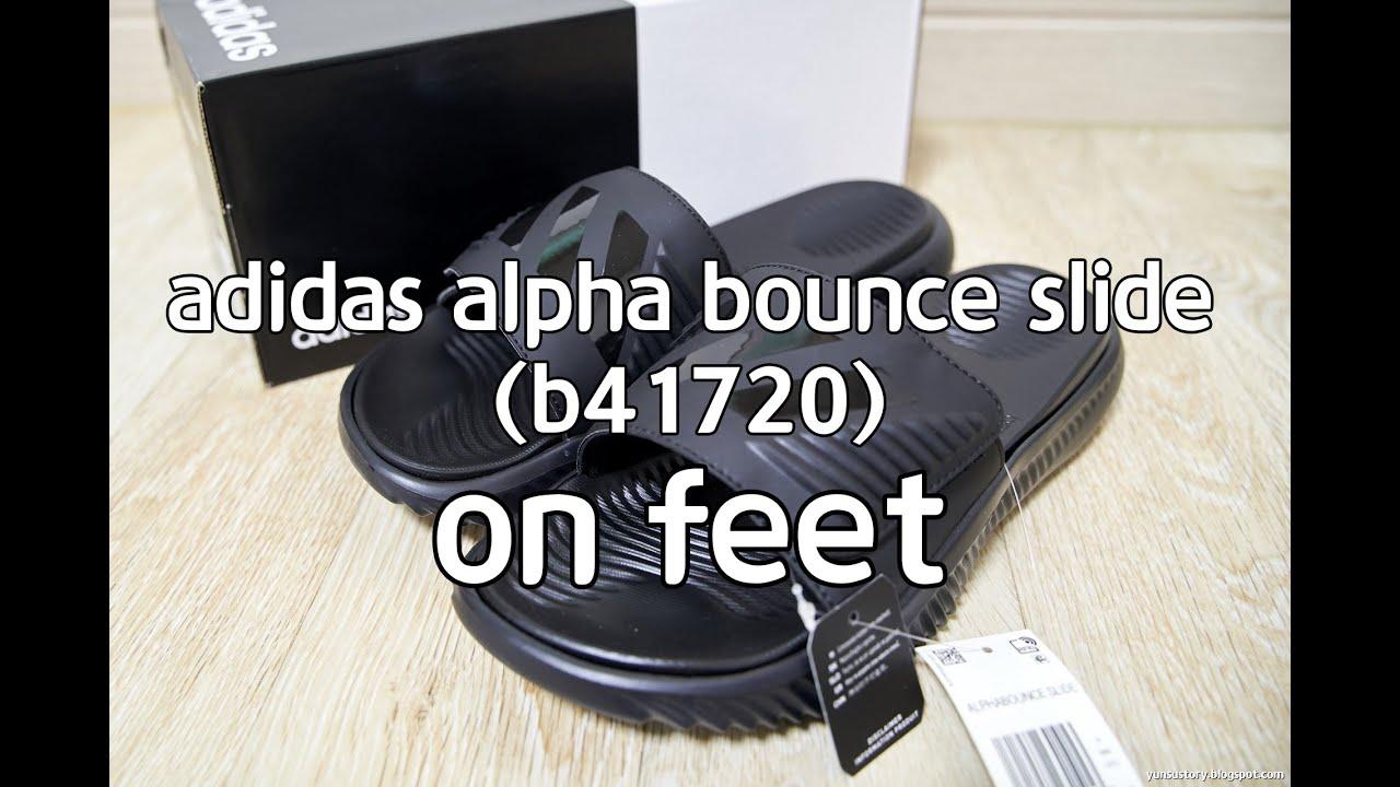 055943fe7b67b ADIDAS ALPHA BOUNCE SLIDE  B41720  ON FEET (아디다스 알파바운스 슬리퍼 착용샷)