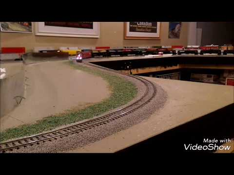 Modern CP and CN trains running on layout