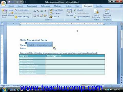 Word Tutorial Creating a Form Template Microsoft Training Lesson
