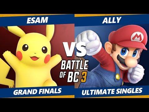 Smash Ultimate Tournament - Ally (Mario) Vs. Esam (Pikachu) BoBC3 SSBU Grand Finals thumbnail