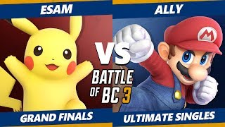 Smash Ultimate Tournament - Ally (Mario) Vs. Esam (Pikachu) BoBC3 SSBU Grand Finals