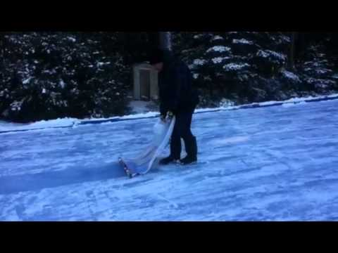 How To Flood A Backyard Rink Without A Water Hose Youtube