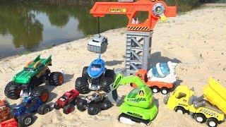 Мультик про машинки и строительную технику с игрушками СТРОИТЕЛЬСТВО ВОДНЫХ ГОРОК  Машинки для детей