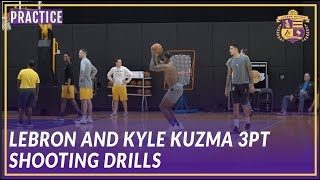 Lakers Practice: LeBron & Kuzma Go Back and Forth In Three Point Shooting Drills
