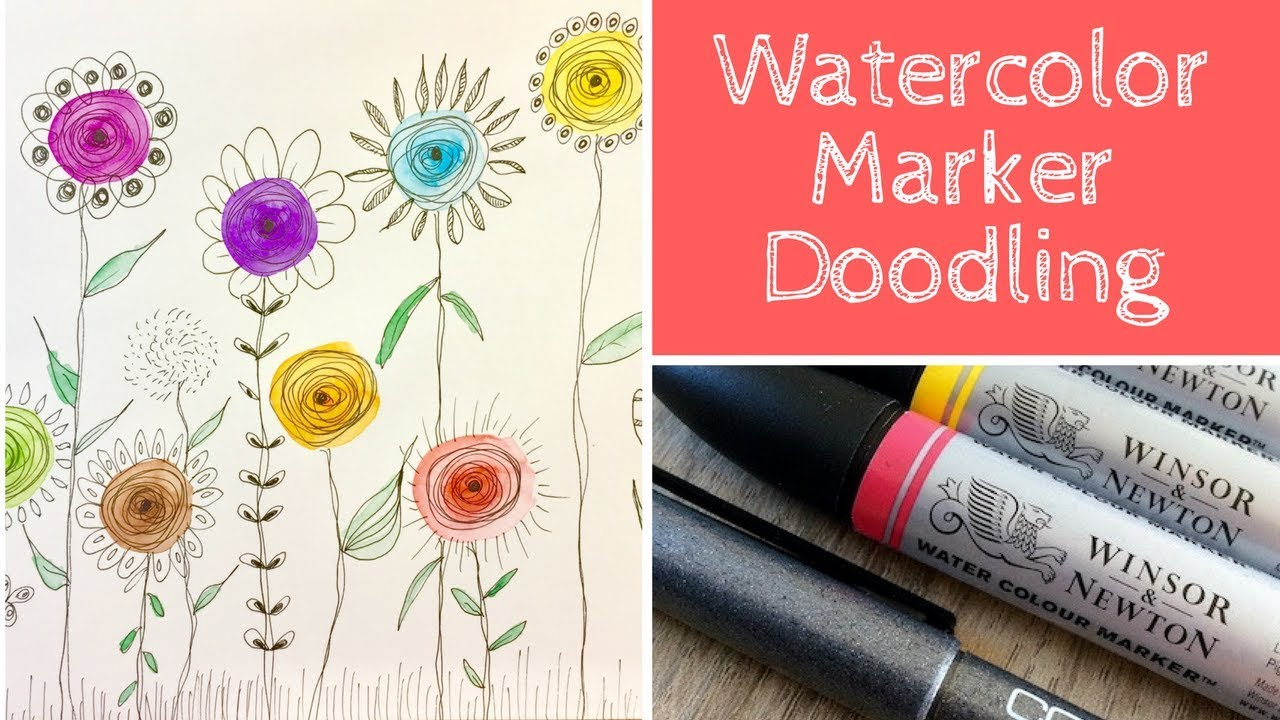 Easy Flower Doodles With Watercolor Markers