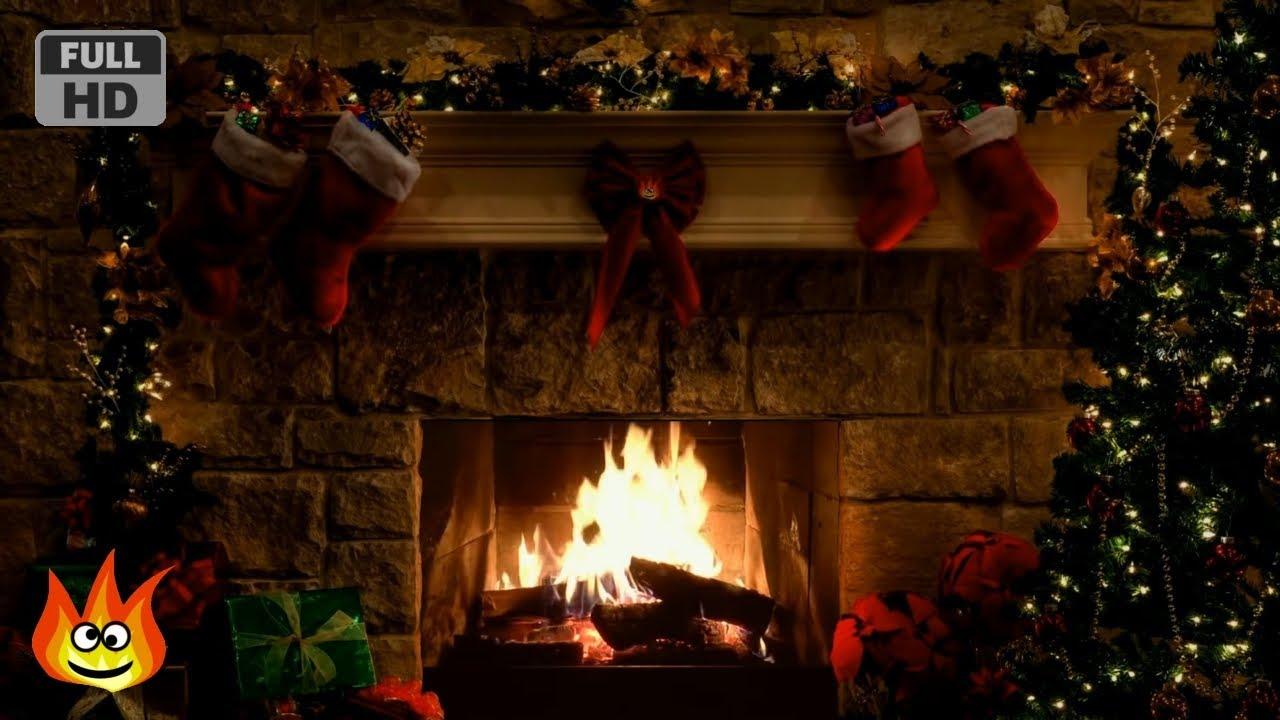 Christmas Fireplace Scene With Crackling Fire Sounds 6
