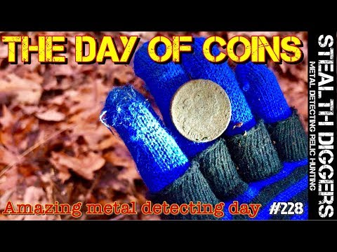 The day of coins metal detecting colonial #228 finding old 1700's homesites coins relics detector