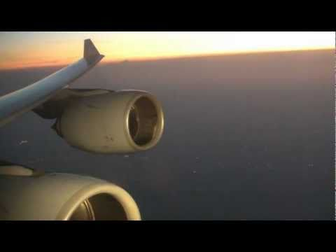 Lufthansa Airbus A340-600 - fantastic take-off in Newark into the Sunset