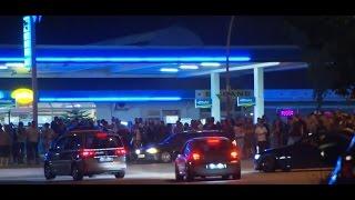 Polizei fährt bei illegalen Straßenrennen mit !!! Race Cars...