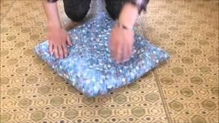 小座布団の作り方④のしつけ。この作業は、生地をひっくり返した座布団が...