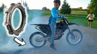 Burning off Sand Tire on Dirt Bike!!