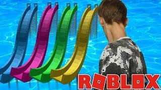 MIJN EERSTE GLIJBANEN! (Roblox Waterpark Tycoon)