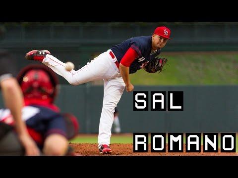 Cincinnati Sal Romano pitching for the Louisville Bats