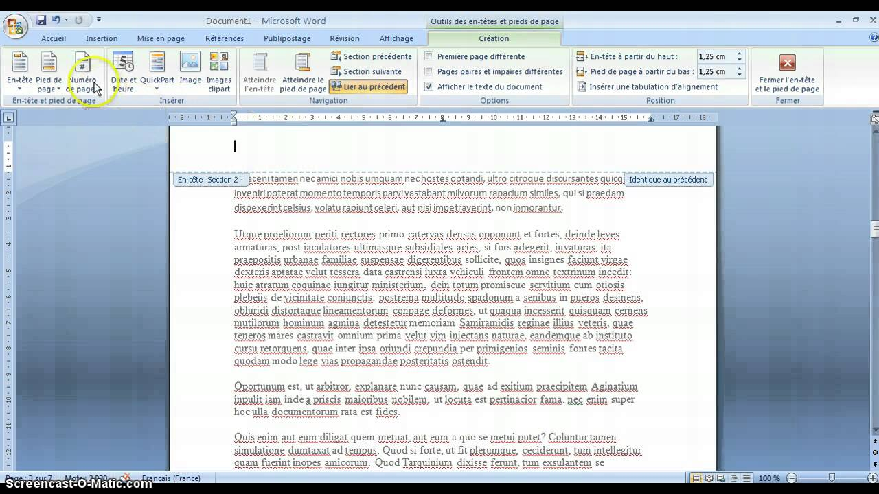 Ne pas num roter certaines pages microsoft office 2007 - Comment numeroter des pages sur open office ...