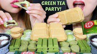 ASMR GREEN TEA PARTY! (Ice Cream, Mochi, Chocolates) 녹차 리얼사운드 먹방 抹茶 | Kim&Liz ASMR