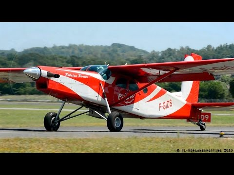 Awesome Pilatus PC6 Turbo Porter F-GIDS startup, STOL takeoff & landing at Albi [LBI/LFCI]