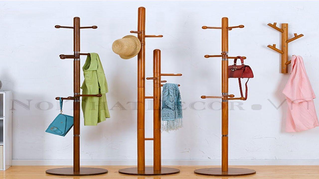 [ HDCVietNam] Cây treo quần áo bằng gỗ – Hướng dẫn lắp đặt cây móc quần áo có tay treo xoay 360 độ