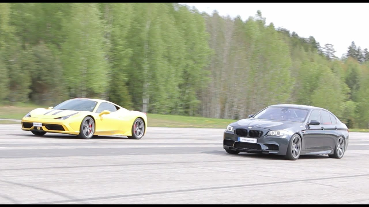 4k] Ferrari 458 Speciale vs tuned BMW M5 F10 - YouTube