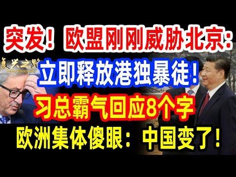 突发!干涉香港再升级!欧盟刚刚威胁北京:立即释放港.独暴徒!习近平霸气回应8个字,欧洲集体陷入沉默:中国变了!