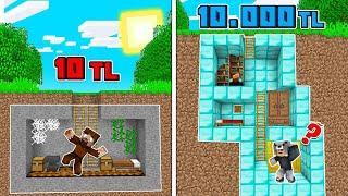 1 TL YER ALTI EV VS 10.000 TL YER ALTI EV! 😱 - Minecraft