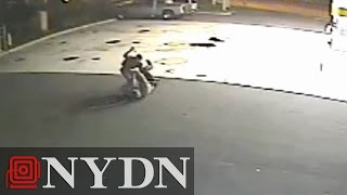 Video: Cop stabbed by man trying to explode gas station