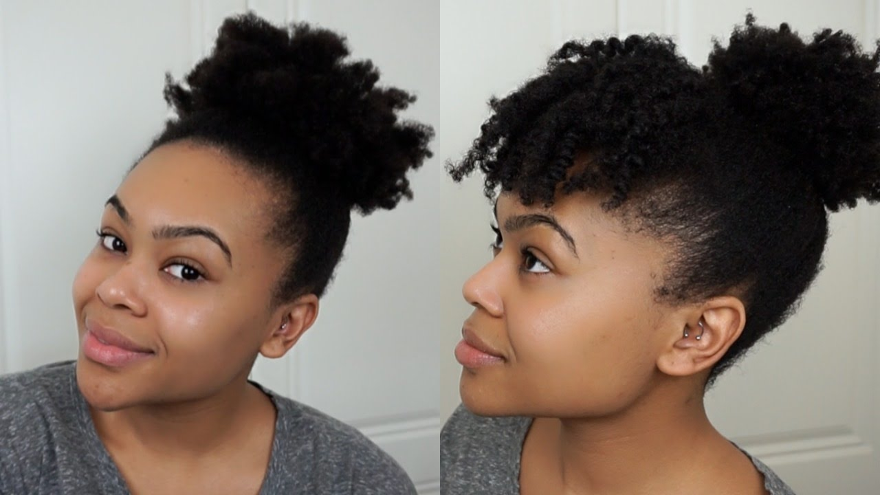 High Puff Puff With Bangs Curly Natural Hair Youtube