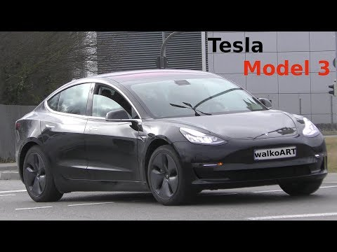 Erlkönig TESLA MODEL 3 in Sindelfingen erstmals auf der Straße - First time NEW Model 3 on the road