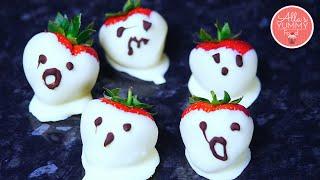 Halloween Recipes   Strawberry Ghosts   Клубничные Призраки на Хэллоуин