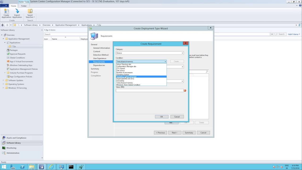 SCCM 2012 R2 1602 - Create and deploy application from EXE package step by  step
