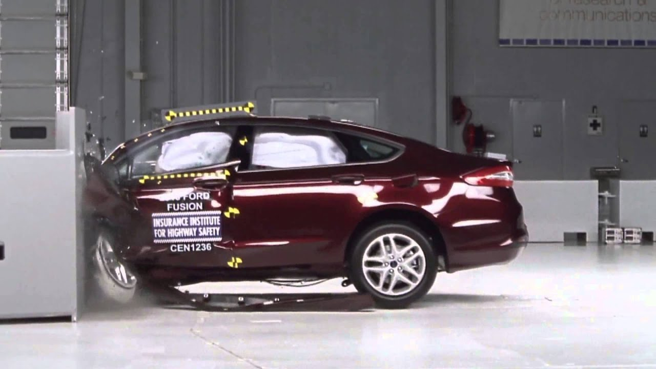 Iihs 2013 ford fusion small overlap crash test acceptable evaluation youtube
