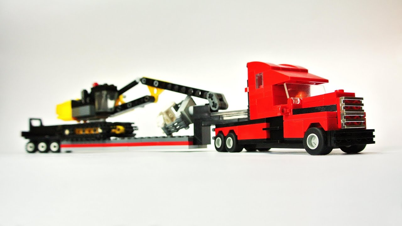 Trat Er Toy : Long haul truck with trailer tracked excavator