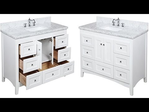 Abbey 48 Inch Carrara White Bathroom Vanity With Italian Marble Top Shaker Style Cabinet