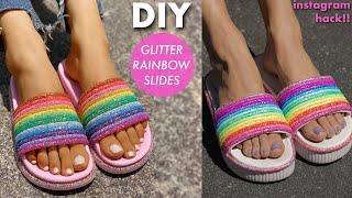 DIY: Glitter Rainbow SLIDES! (instagram HACK!!) -By Orly Shani