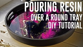 Decorative wooden tray Resin pour DIY + TUTORIAL