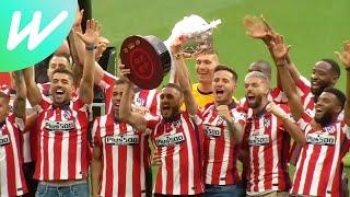 Atletico Madrid Lift La Liga Trophy At Home Stadium, Fans Celebrate Outside   News   2020/21