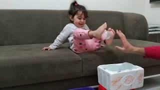 Ayşe Ebrar ayağıyla tüm topları sepete attı. Eğlenceli çocuk videosu.
