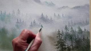 watercolor trees in the mist(Detailed demonstration of painting trees in the mist. This is a mountain landscape in watercolor with trees fading into the fog and mountain clouds., 2016-06-16T19:58:51.000Z)