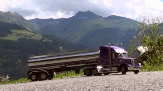 Tamiya Knight Hauler with Tank Trailer on a Road in the Mountains