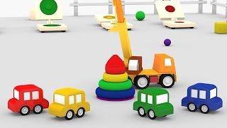 Lehrreicher Zeichentrickfilm - Die 4 kleinen Autos - Wir bauen eine Pyramide