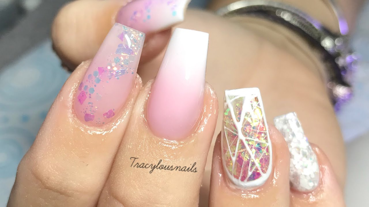 Glittery Baby Pink Silly String Spider Gel Acrylic Nails Youtube