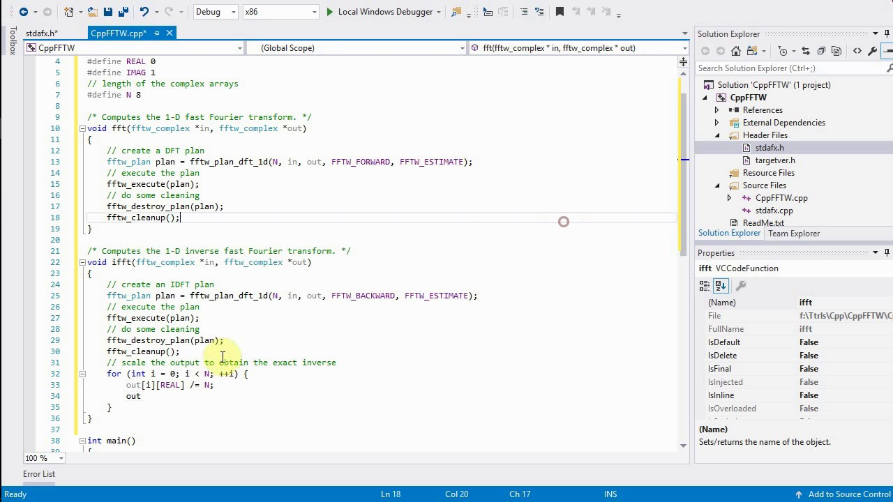 C++ Tutorial: 1-D FFT and IFFT with the FFTW library and Visual Studio on  Windows
