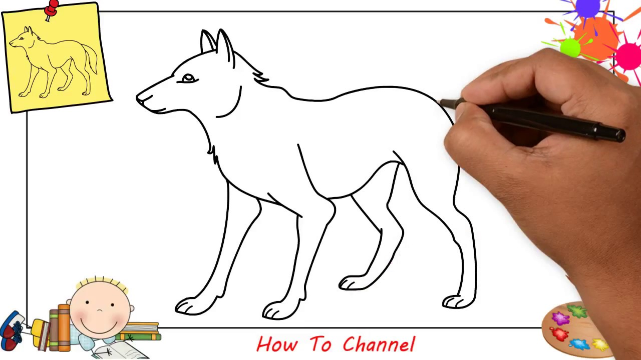 How to draw a wolf EASY step by step for kids, beginners ...