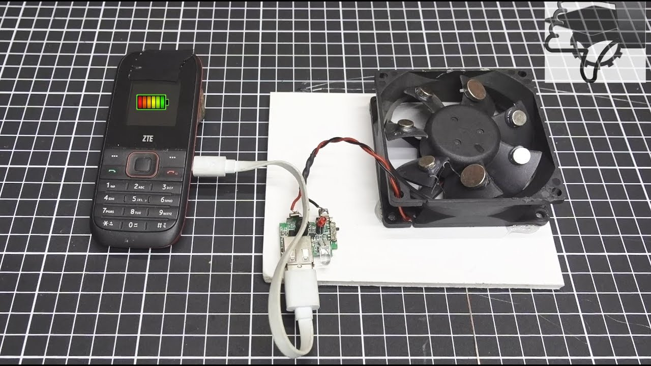 How To Make a Free Energy Mobile Phone Charger With Computer Fan - Science  project at home 2018