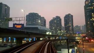 Vancouver SKYTRAIN: APPROACHING DOWNTOWN UNDER A PINK HAZE Expo Line, Commercial Dr to Stadium Stn