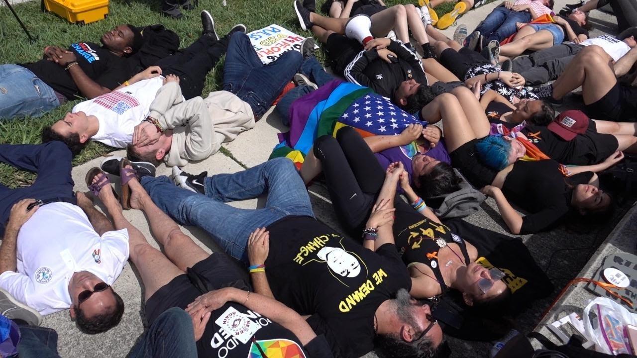 Gun-control activists participate in die-in near Mar-a-Lago
