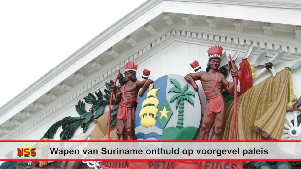 Wapen van Suriname op voorgevel paleis - YouTube