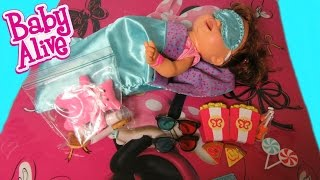 BABY ALIVE Snackin Sara doll + My Life As Slumber Party + Movie Night Accessories Unboxing!