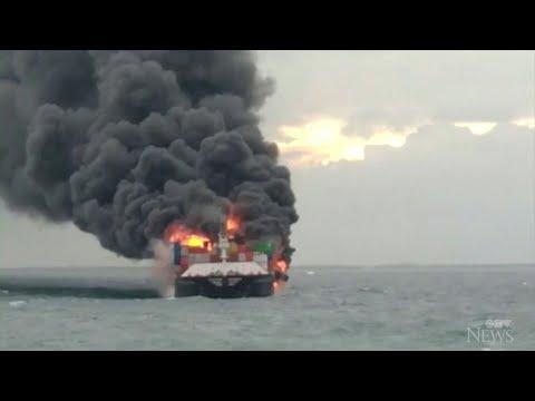 Crew rescued from burning ship off Sri Lanka