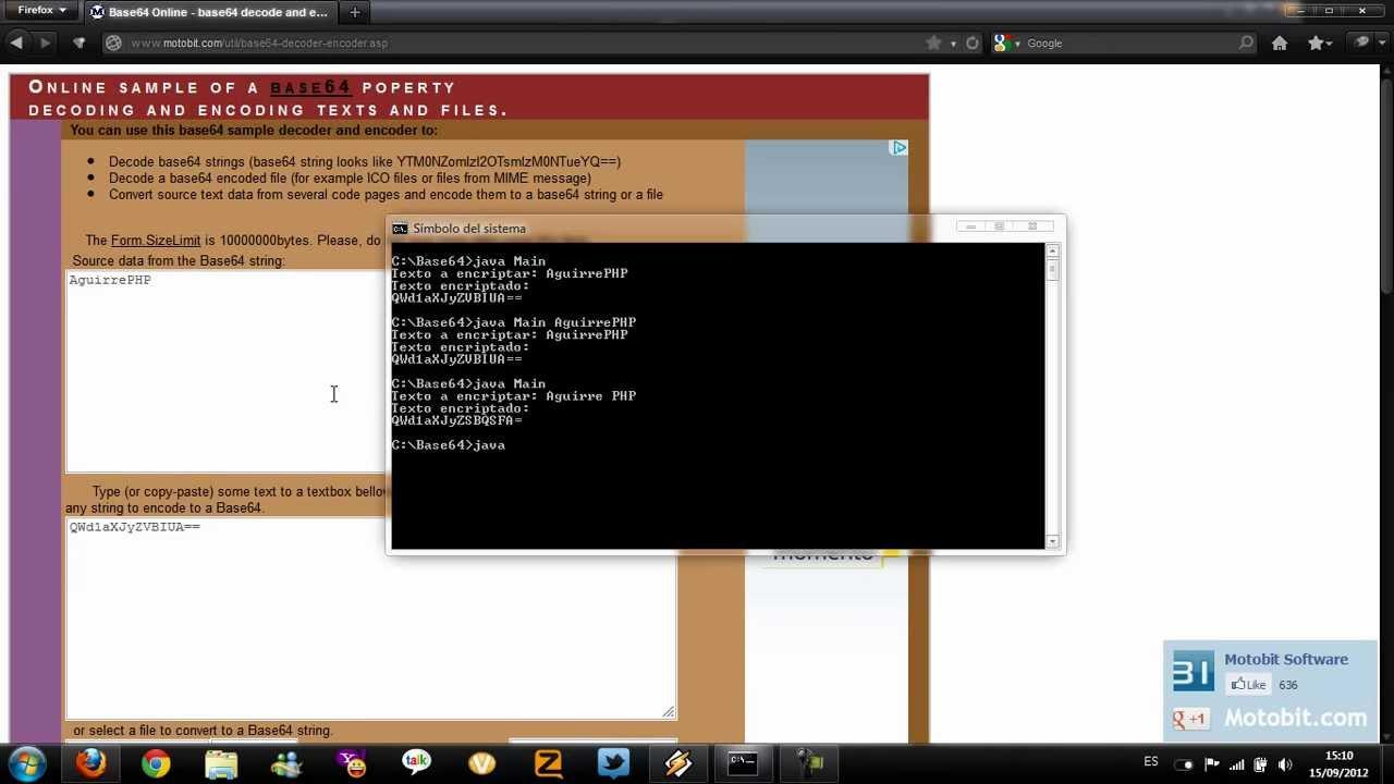 Pequeña demostración de codificación en Base64